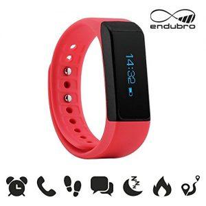 endubro i5 plus Fitness Armband – fitness tracker – smart bracelet – Smartwatch für Android Smartphone und iPhone, Schrittzähler, Push-Message und Anrufer – ID Benachrichtigung (Rosa)