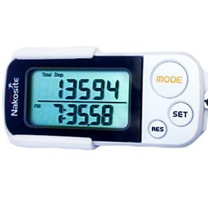 NAKOSITE-Genauer 3D Schrittzähler, Kalorienzähler, mit Fitness eBook. 30 Tage Speicher nicht 7. Meilen oder kilometerzähler mit Clip & Gurt. Pedometer mit Trainings-Modus, Tägliche Leistung Monitor, konstruiert mit Tri-Axis Technik, digitales leicht zu lesende Anzeige, Weiß.