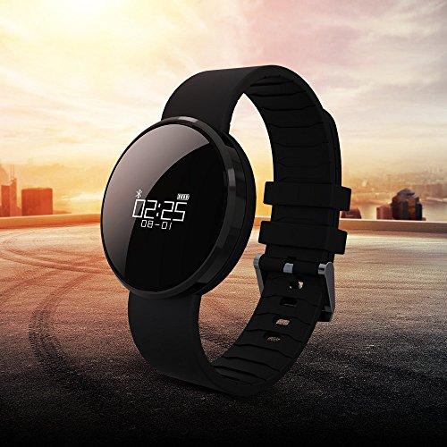Fitness Tracker mit integrierter Herzfrequenzmessung am Handgelenk von Outry, wasserdichter Schrittzähler mit Anzeige von Schritten, Tagesziel, Kalorienverbrauch, Distanz, Schlafanalyse, Datum und Uhrzeit (Schwarz)