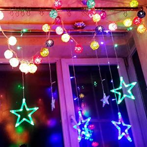 [ LED Vorhänge Lichterketten ] Teckey 2 m 12 Sterne 138 LED dekorative Leuchten Verbindungs Lichterketten für Garten Weihnachtsbeleuchtung Outdoor-Hochzeit Urlaub