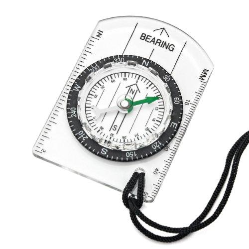 kompakter ®Washati Kartenkompass mit drehbarem Kompassring und Umhängeband (nur 20g schwer)
