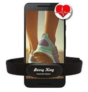 BLUETOOTH 4.0 und ANT+ BRUSTGURT für RUNTASTIC, WAHOO, STRAVA App, für iPhone 4S/5/5C/5S/6/6S/6+ Android – BerryKing Premium Herzfrequenz Messer / Sensor ANT+ & Bluetooth 4.0 für Garmin, TomTom, iPhone, Android Heartbeat