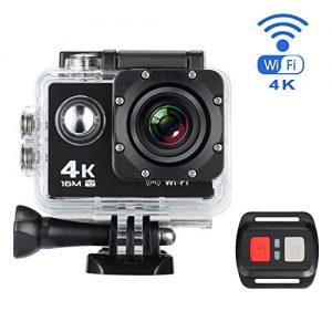 Action Kamera, MixMart Wasserdichte WiFi Action Kamera Sports Kamera 170 ° Weitwinkel mit 16 MP, 4k, HD 2.0″ LCD mit 2 Verbesserten Batterien und Zubehör Kits