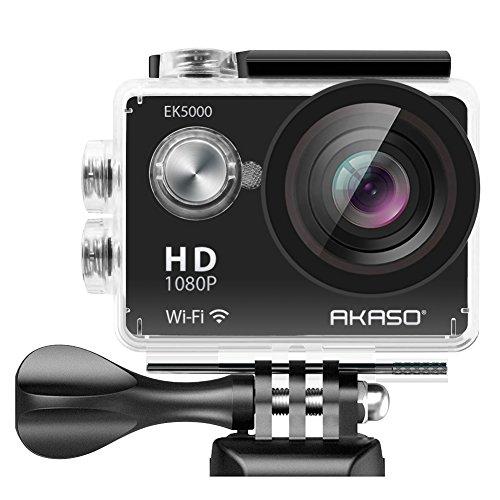 AKASO EK5000 1080p WIFI Sports Action Kamera 12MP wasserdichte HD-Kamera 2 Zoll 170°Weitwinkel-Objektiv Camorder W/ 2 Rechargeable Batteries und 17 Kostenlosen Zubehor Kits zumFahrrad fahren