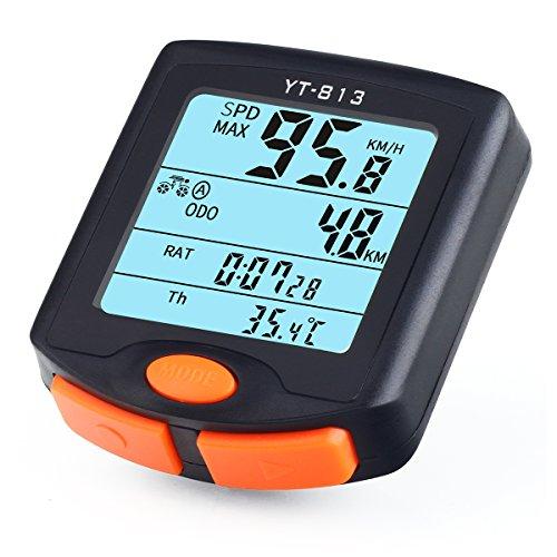 Wireless Bike Computer, risepro® Wasserdicht Fahrrad computer 4Line LCD-Hintergrundbeleuchtung Display für Tracking mit Geschwindigkeit und Strecke, wasserdicht Fahrrad Computer yt-813