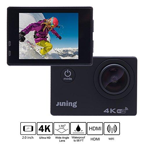 Action Kamera, Juning 4K WiFI Ultra HD Multifunktions Sport-kamera 2 Zoll/ 1080P Pixel /170° Weitwinkel-Objektiv, Wasserfeste 30 Meter entfernt, WiFi können Ihr Telefon und Computer verbinden, Ausgestattet mit zwei Batterien