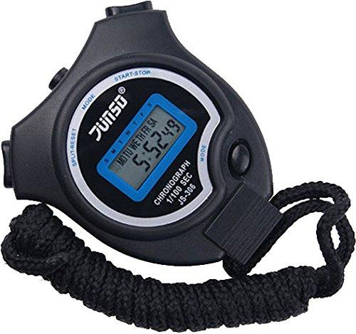 Digitale Stoppuhr Timer mit Großes LCD-Display Handheld Digital Stoppuhr für Sports Training , Schwarz
