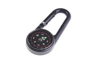Huntington Clip Kompass: Karabiner-Kompass, kleiner Kompass im Karabinerhaken, Metallgehäuse aus Aluminium, flüssigkeitgedämpfte Kompassscheibe, 69 x 30 x 10,5 mm – DC27L (DE)