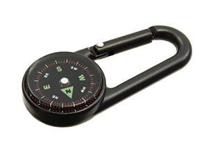 Fivesix Karabinerhaken-Kompass und Thermometer, professionell flüssigkeitsgedämpfte Anzeige im Metallgehäuse