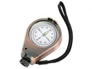 Herbertz Peilkompass, Flüssigkeitsgedämpft, 360 Grad, Bronzefarbiges Metallgehäuse, Visierschlitz, Tragekordel Kompasse