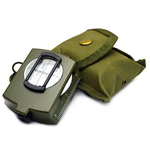 Sijueam Marschkompass Peilkompass Premium Qualität Peil Kompass Geocaching Wasserdicht Stoßfest Professionell Flüssigkeitsgedämpft Metallgehäuse mit Linsensystem