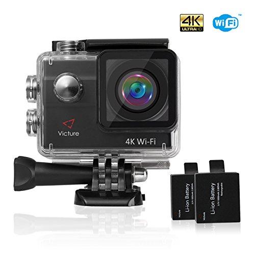 Victure Action Kamera 4K WIFI Sports Cam 20MP Ultra HD Helmkamera Wasserdicht für Motorrad Fahrrad Reiten mit 2 Verbesserten Batterien und Zubehör Kits