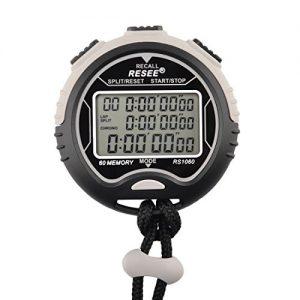 Stoppuhren, Foxom Professional Sportelektronik Wasserdichte Timer, Drei-Row 60 Runway-Speicher, 1/100 Sekunden Genauigkeit