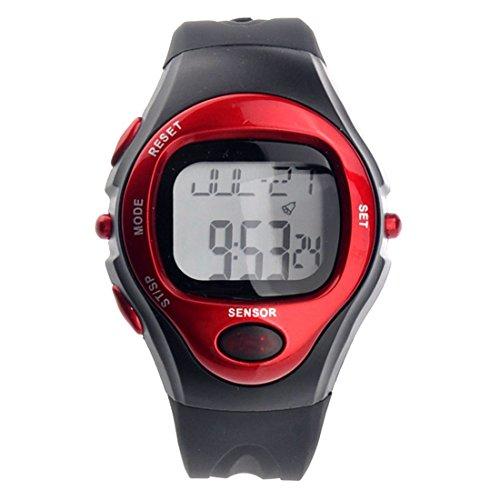 SODIAL(R) R022M wasserdicht Sport Puls Monitor Pulsmesser Digital Handgelenk Uhr mit Alarm /Calendar Stoppuhr (rot)