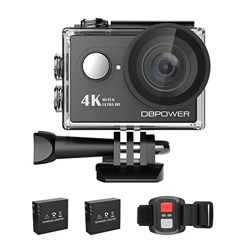 Action Cam, DBPOWER 4K Sports Action Kamera WIFI 2.0 Zoll FHD LCD Display Wasserdicht Helmkamera mit 2 Verbesserten Batterien und Zubehör Kits(Black)