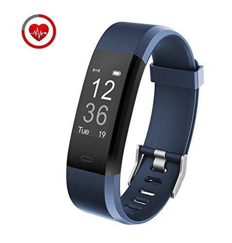 Fitness Tracker mit Herzfrequenzmessung Vigorun YG3 Plus Bluetooth Touch Aktivitätstracker fürAndroid und iOS Smartphones (Blau)