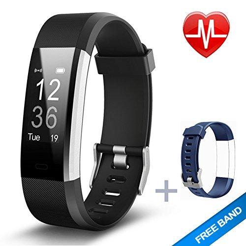 Fitnees armband Lintelek Herzfrequenzmesser schlank HR Plus Wasserdichte Fitness Tracker Bluetooth Schrittzähler Smart Armband Fitness Uhr mit einem kostenlosen Ersatzarmband