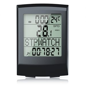 CSL – Fahrradcomputer kabellos | Fahrradtacho / Radcomputer / Tachometer | 13 Funktionen / Temperaturanzeige in °C | Reed-Sensor | inkl. Befestigungsmaterial | Hintergrundbeleuchtung | IP65
