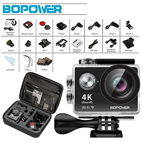 Globmall 4K Action-Kamera, Bopower 60fps WIFI Sport Anti-Shake Wasserdichte Camcorder mit 2,4G RF Remote, Full HD 2.0