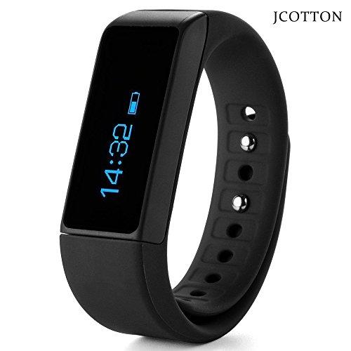 Jcotton Smartwatch IP67 wasserdichte intelligente Smart bracelet Bluetooth 4.0 Fitness Aktivität Tracker beobachten Sport Gesundheit Pedometer Armband Fügen Fitness Schlaf Monitor Sedentary Erinnerung Wristband Kompatibel mit Android IOS Smartphones (schwarz)