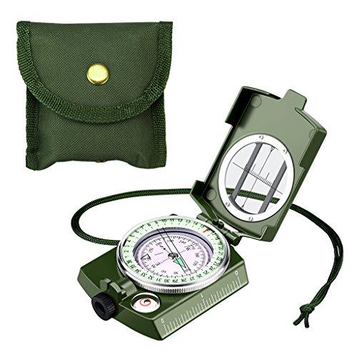 Enkeeo Militär Marschkompass wasserdichte Taschenkompass Multifuktionaler Kompass für Camping, Wandern und andere Outdoor Aktivitäten