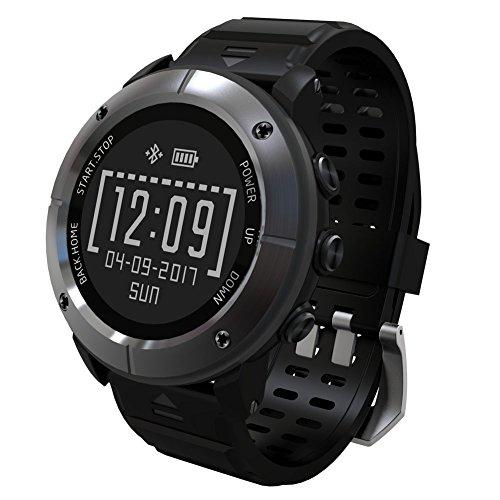 UWEAR Outdoor Uhr Smart Watch Sportuhr IP68 mit Pulsmesser, GPS, Kompass, Barometer, Wetter, Höhenmesser, SOS, Routenaufzeichnung Zum Wandern, Radfahren, Laufen, Surfen, Schwimmen über 10 Sportmodi