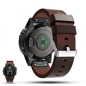 Garmin Fenix 5GPS Smartwatch Ersatz Gurt Band–ifeeker echtem flach Leder Handgelenk Band Uhrenarmband für Garmin Fenix 5GPS Multisport Smartwatch