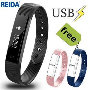 Fitness Tracker, Reida Smart Bracelet mit zwei zusätzlichen Ersatzbändern, Tragbares Armband mit Schrittzähler und Schlaftracker, Anruf-, SMS- und SNS Alarm und mehr, Eingebaute USB Ladefunktion Wasse