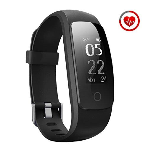 Fitness Tracker, Mpow Bluetooth 4.0 Smart Fitness Armbänder mit Pulsmesser IP67 Wasserdicht Aktivitätstracker Schrittzähler 0.96''OLED  Herzfrequenzmesser Pulsuhr für Android iOS wie iPhone 7/7 Plus/6S/6/5/5S, Samsung S8/S7, Huawei, LG, Sony, schwarz(USB Anschluss direkt laden)