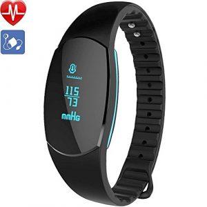 AsiaLONG Fitness Armband mit Pulsmesser und Blutdruck -Fitness Aktivitätstracker Schrittzähler Uhr mit Blutdruckmessung, Schlafanalyse, Kalorienzähler, Anrufe SMS Nachrichten für IOS Android Handy.
