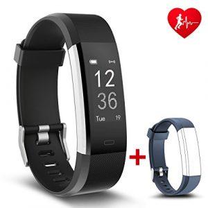Bester Fitness Tracker mit Herzfrequenz NAKOSITE RAM2433 Aktivitätstracker Armbanduhr Schrittzähler, Kalorien, Schlaf, Entfernung, Sportuhr. Bluetooth 4.0 für Android 4.4 oder IOS 7.0 und höher. SMS