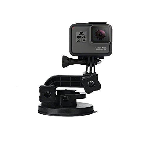 GoPro Front Saugnapfhalterung (gebogene, vertikale Schnellspannschnalle, 2 x Schwenkarme, Rändelschrauben)