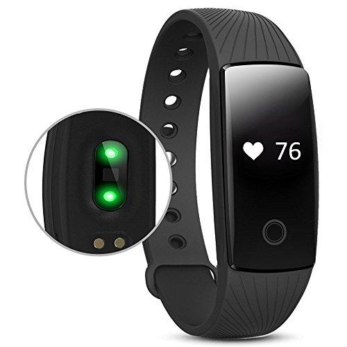 Riversong Fitness Tracker Fitness Armband Smart Fitness Uhr Activity Tracker Gesundheits- Herzfrequenz Monitor, Anruf/ SMS Erinnerung für Android 4.4 oder höher / IOS 8.0 oder höher und Bluetooth 4.0 oder höher, Spritzwassergeschützt