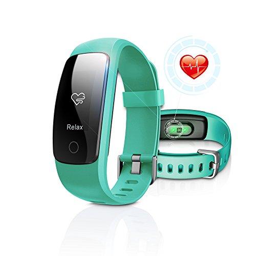 Fitness Tracker mit Pulsüberwachung, DBFIT Aktivitätstracker Smart Watch mit Schlaferkennung, IP67 Wasserdichte, Schrittmesser mit Anruf/SMS Benachrichtigung für iOS/Android Smartphones (Grün)