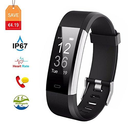 Fitness Tracker Aneken Aktivitätstracker Smart Uhr mit Schrittzähler Herzfrequenz Pulsmesser Kalorienzähler und Schlaf-Monitor Smart Watch IP67 Wasserdicht Anrufen/SMS Benacrichtigen (Schwarz)