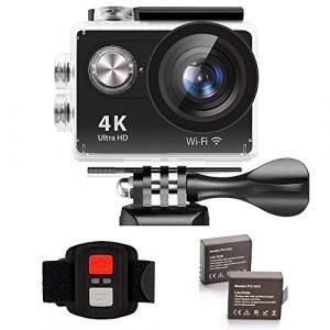 IXROAD Action Kamera 4K Ultra HD 12MP (Action Cam 2 Zoll Display WiFi) 170° Weitwinkel Helmkamera Unterwasserkamera Sportkamera mit Fernbedienung, 2 Akkus, Wasserdichtes Gehäuse, Zubehör Set