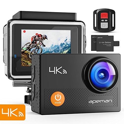 APEMAN Action Cam 4K WIFI Camera Ultra Full HD Unterwasser Kamera Helmkamera Wasserdicht mit 2.4G Fernbedienung 2 verbesserten Akkus und Montage Zubehör Kit