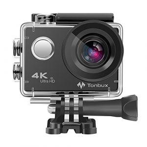 4K Action Kamera Tonbux 4K Action Cam Wifi Helmkamera Tauchen 2 Zoll wasserdicht Unterwasserkamera 170° Ultra Weitwinkel /2x1050mAh Akku/Zubehör Kit für Tauchen, Motorrad, Fahrrad fahren und Schwimmen