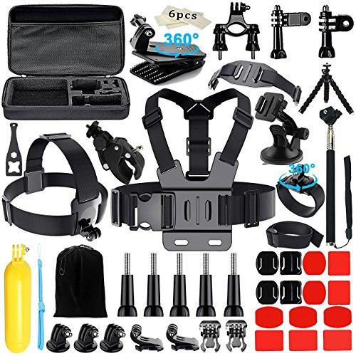 Gopro Zubehör, Iextreme 48-in-1 Zubehör Bundle Set für GoPro Hero 5/4/3+/3/2/1, Kamera Zubehör Kit für IceFox/VTIN/Apeman Actionkamera, Kopfband + QuickClip + Grab Bag Chesty