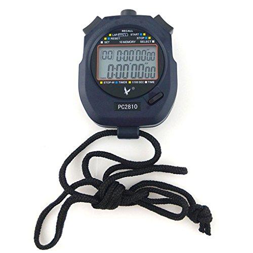 JZK Handheld Digital Stoppuhr Timer, 2 Zeilen 10 Speicher, Countdown Alarm, Akku + Lanyard, PC2810, für Sports Training