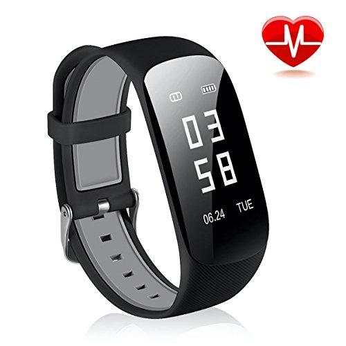 Fitness Tracker mit Pulsmesser CRAZYLYNX Bluetooth Smart Wasserdicht Fitness Armbänder mit Herzfrequenzmesser Schrittzähler Schlaf-Monitor Aktivitätstracker Remote Shoot Anrufen / SMS für Android iOS Handy