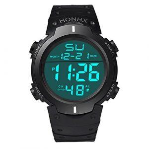 FEITONG Herren Mode Wasserdichte LCD Digital Stoppuhr Datum Gummi Sport Armbanduhr