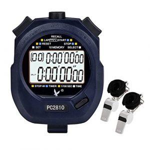 starvast Digitale Stoppuhr Timer mit 2Stück Whistle, Chronograph Sport Stoppuhr mit 2-rows von 10Speicher Zeit Display Countdown Alarm