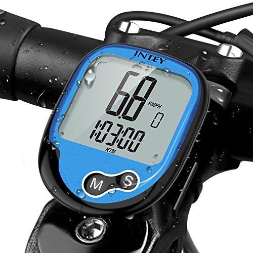 INTEY Fahrradcomputer Drahtloser Fahrradtacho Wasserdicht Radcomputer mit Hintergrundbeleuchtung LCD Display auch als Tachometer für Radsport