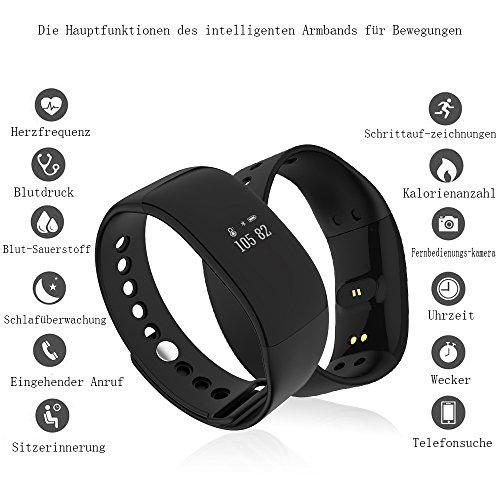 Herren Damen Wasserdicht Pulsmesser Armband Fitness Tracker, Kingberwi Aktivitätstracker mit Herzfrequenzmesser Kalorienzähler Schrittzähler Schlafüberwachung Nachricht Push für iPhone Android