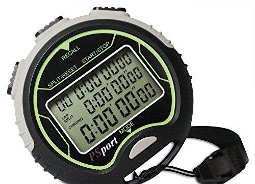 PSport digitale, multifunktionale Stoppuhr mit Intervall-Timer, Uhr, Schrittzähler für Sport und Fitness