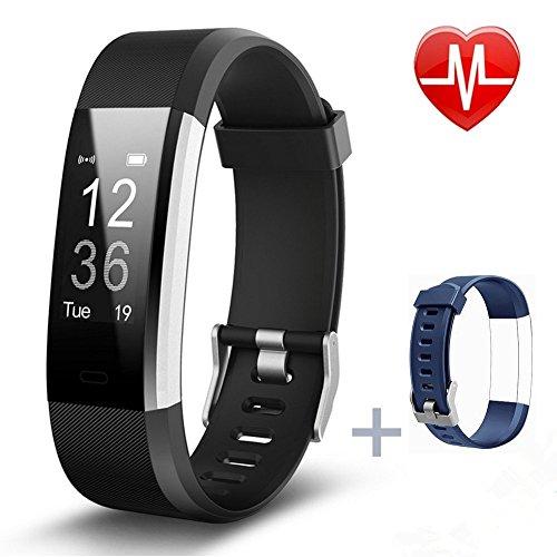 Fitness tracker, Pluvansay Fitness Armbänder mit Pulsmesser, Fitness Aktivitätstracker Schrittzähler, Schlaf-Monitor,/ Kalorienzähler, Anrufen / SMS, finden Telefon für Android iOS Smartphone (Black)