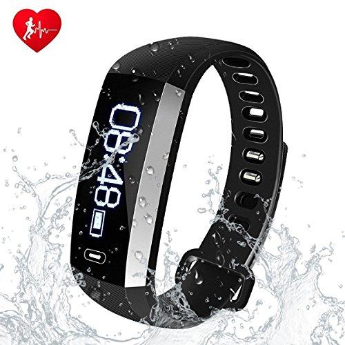 Queta Bluetooth 4,0 Fitness Armband mit Pulsmesser, Smart Fitness Tracker mit Herzfrequenzmesser, Schlaf-Monitor, Kalorienzähler, Aktivitätstracker, Remote Shoot, Anrufen SMS, Stoppuhr für iOS und Android Handy