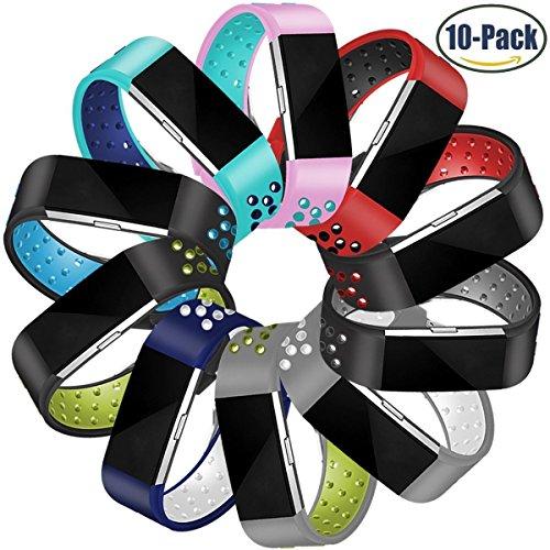 Für Fitbit Charge 2 Armband, HUMENN Zwei-Farben Weich Silikon Ersatzarmband Smartwatch Sport Band für Fitbit Charge 2 Herzfrequenz Fitnessaufzeichnung (5.5
