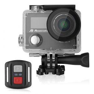 Powerextra 4K,12MP, WIFI Wasserdichte UHD Kamera mit 170° Weitwinkel,1050mAh Akku und Zubehör Kitt für zum Tauchen, zumFahrrad fahren, zum Motorrad fahren und zum Schwimmen